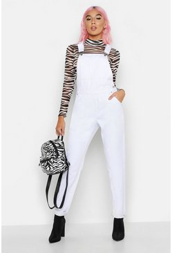Womens White Boyfriend Denim Dunagree