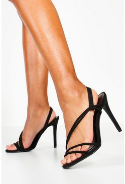 Womens Black Asymmetric Strap Heels
