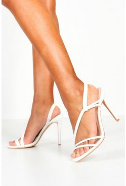 Womens White Asymmetric Strap Heels