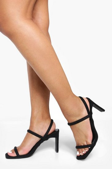 Womens Black Flat Low Heel Slingback 2 Part Heels