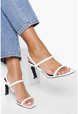 Womens White Flat Low Heel Slingback 2 Part Heels