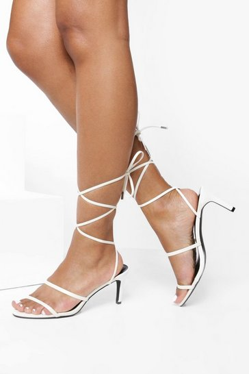Womens White Skinny Strap Low Heel Sandals