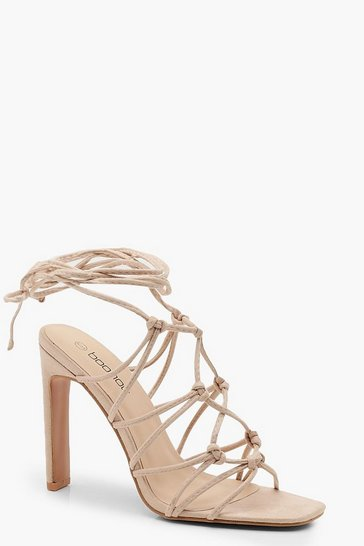 Womens Nude Caged Front Flat Heel Sandals