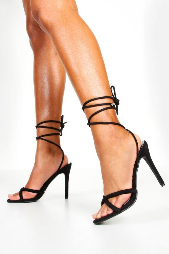 Womens Black Wrap Strap Tubular Heel Sandals