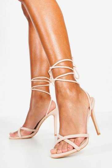 Womens Nude Wrap Strap Tubular Heel Sandals