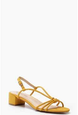 Womens Mustard Knot Front Low Block Heels