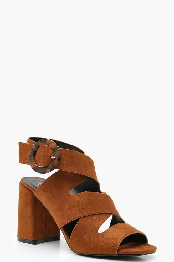 Tan Multi Strap Tortoise Buckle Block Heels
