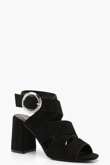 Womens Black Multi Strap Buckle Detail Block Heels