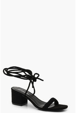 Womens Black Block Heel Plait Strap Sandals