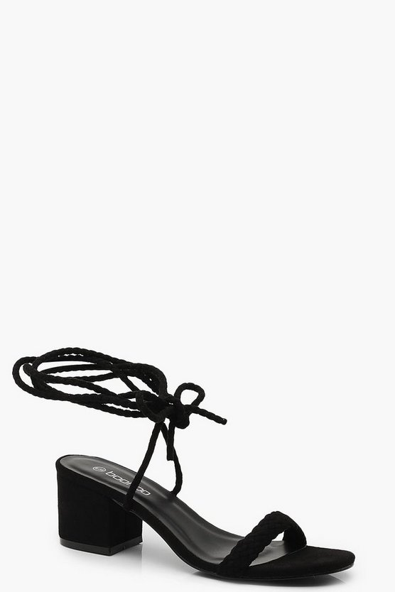 Block Heel Plait Strap Sandals