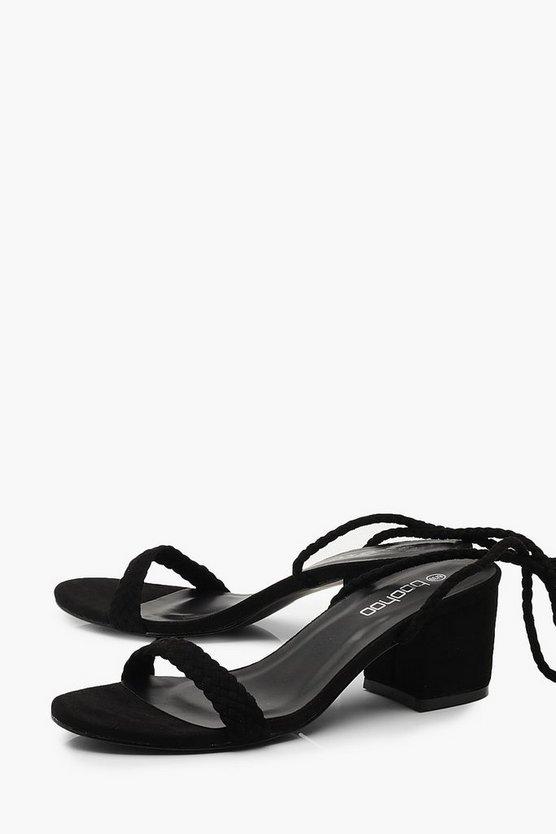Block Heel Plait Strap Sandals