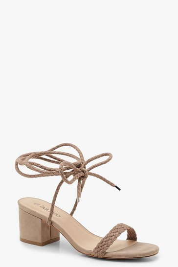 Taupe Block Heel Plait Strap Sandals