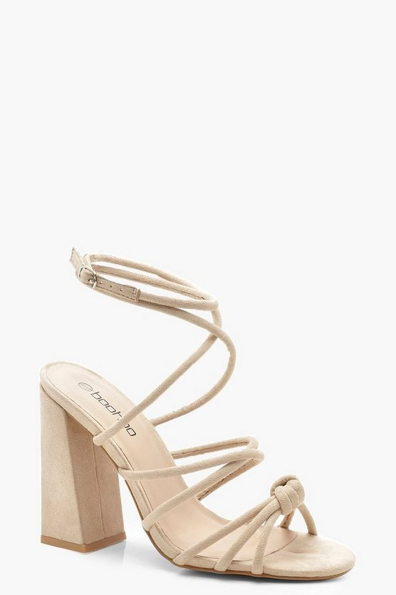 Womens Beige Knot Detail Wrap Ankle Block Heels