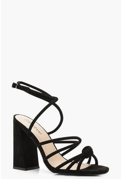 Womens Black Knot Detail Wrap Ankle Block Heels