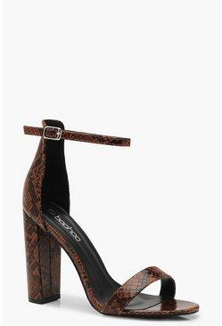 photos officielles 56a48 ba450 Chaussures à talons carrés en 2 parties serpent