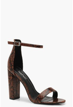 Womens Brown Snake 2 Part Block Heels