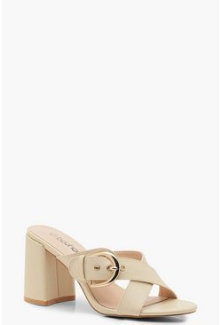 Womens Beige Buckle Trim Block Heel Mules