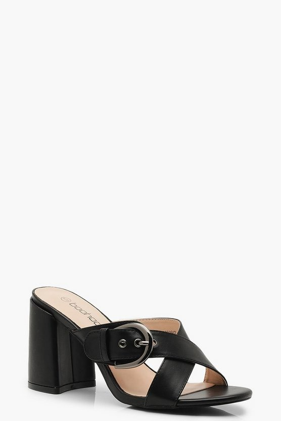Buckle Trim Block Heel Mules