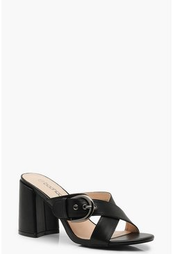 Womens Black Buckle Trim Block Heel Mules