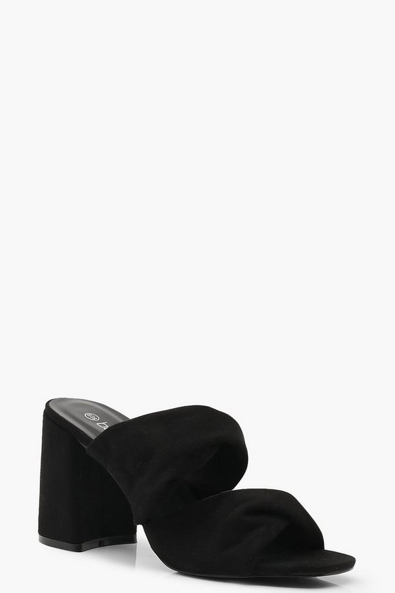 Black Twist Double Strap Block Heel Mules
