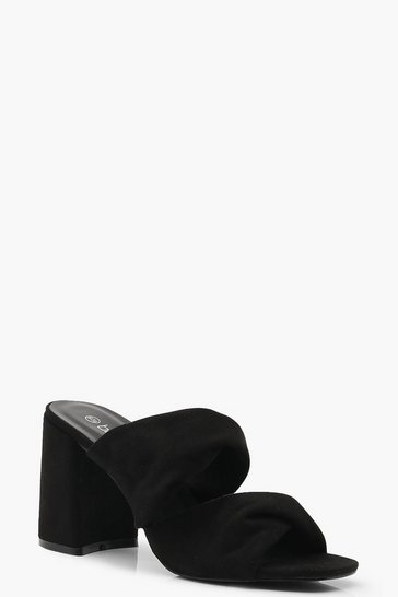 Womens Black Twist Double Strap Block Heel Mules