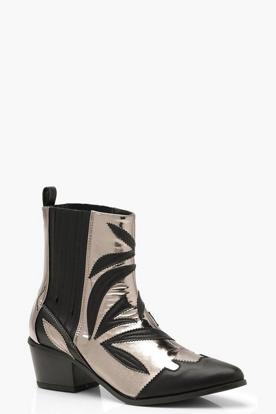 Contrast Metallic Detail Western Cowboy Boots