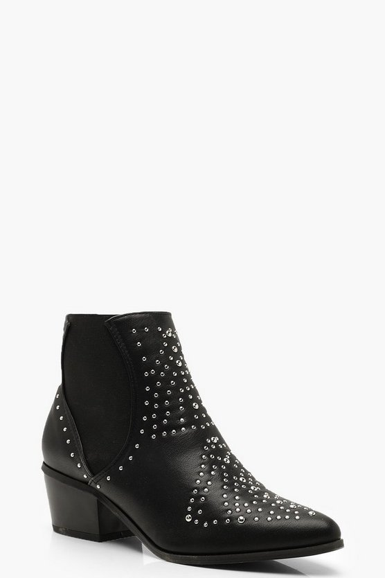 Studded Elastic Insert Western Boots