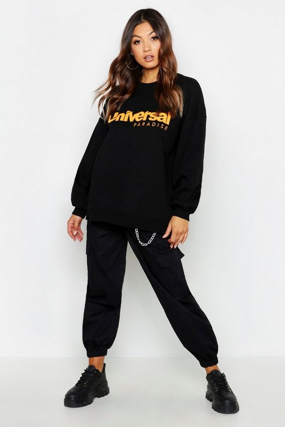 Womens Black Universal Applique Oversized Sweat