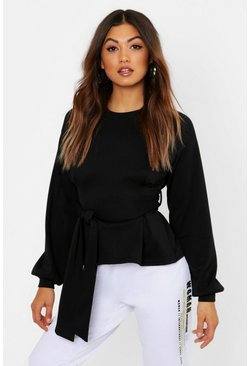 Womens Black Pleat Detail Belted Sweat