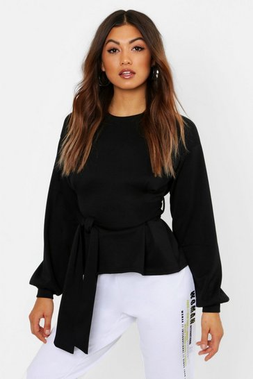 Womens Pleat Detail Belted Sweat