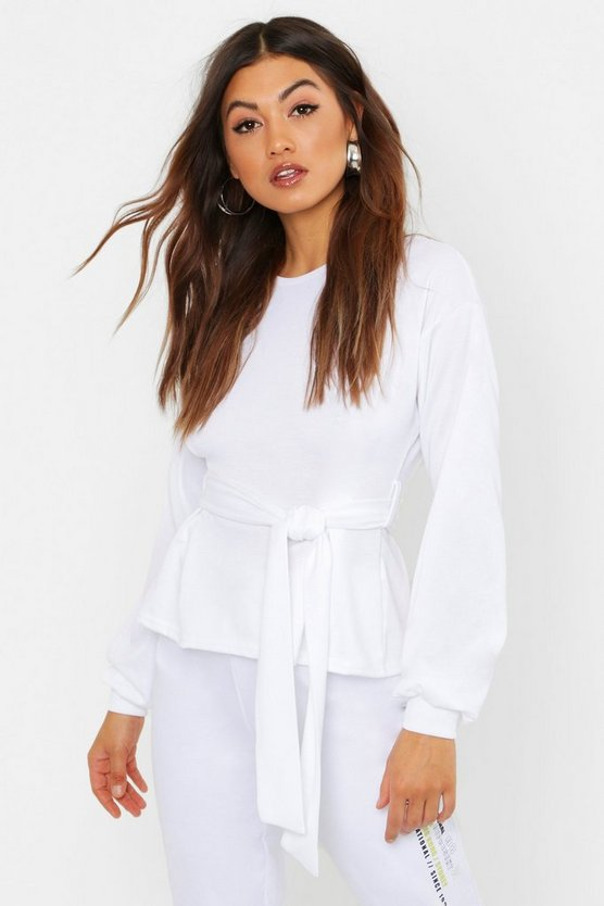 Womens White Pleat Detail Belted Sweat