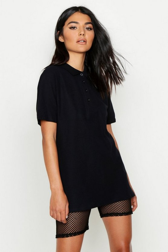 Black Oversized Polo Top