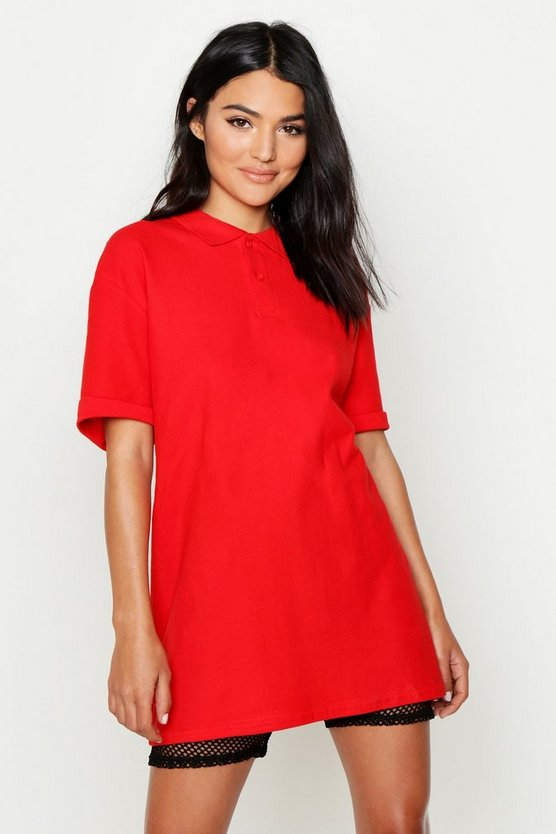 Womens Red Oversized Polo Top