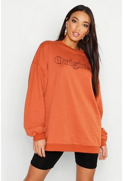 Womens Terracotta Original Slogan Oversized Sweat
