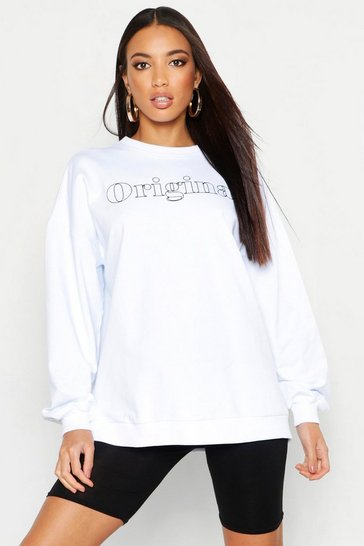 Womens White Original Slogan Oversized Sweat