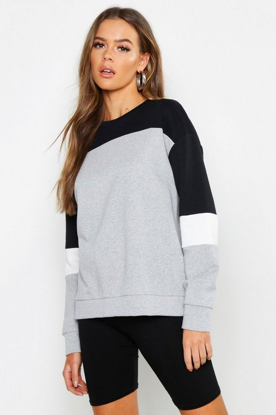 Womens Black Colour Block Oversized Sweat