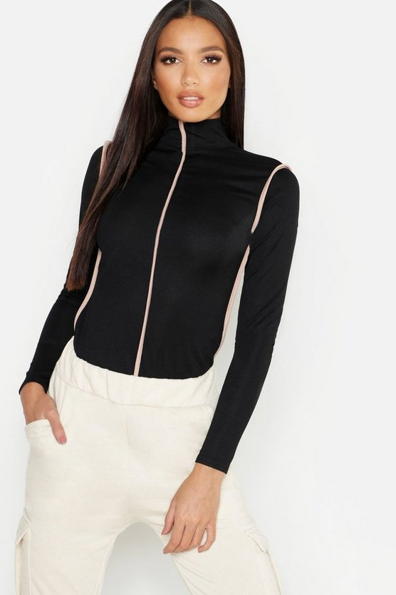 Sports Trim Rib High Neck Top