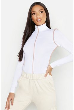 Womens White Sports Trim Rib High Neck Top