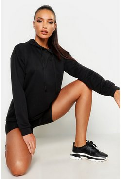 Womens Black Basic Oversized Straight Hem Hoody