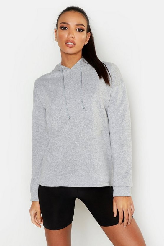 Womens Grey marl Basic Oversized Straight Hem Hoody