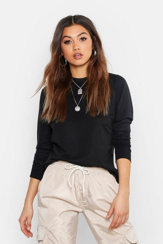 Womens Black Basic Crew Neck Sweatshirt
