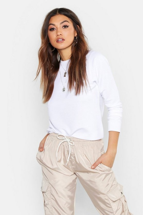 Womens White Basic Crew Neck Sweatshirt