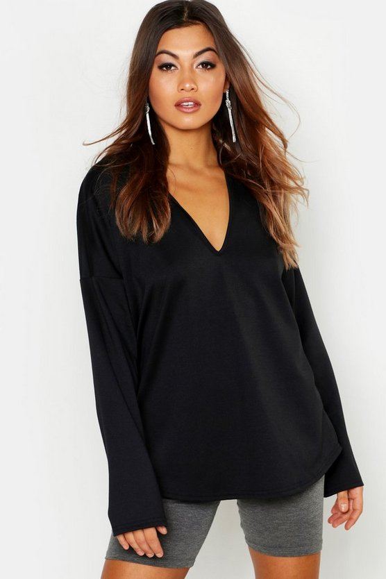 Womens Black Oversized Loose Fit Hoody