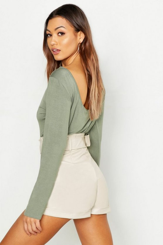 Khaki Basic Scoop Back Long Sleeve T-Shirt
