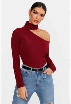 Womens Wine Rib Cut Shoulder Turtle Neck Top