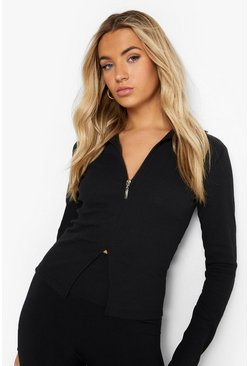 Black Turtle Neck Rib Half Zip Top