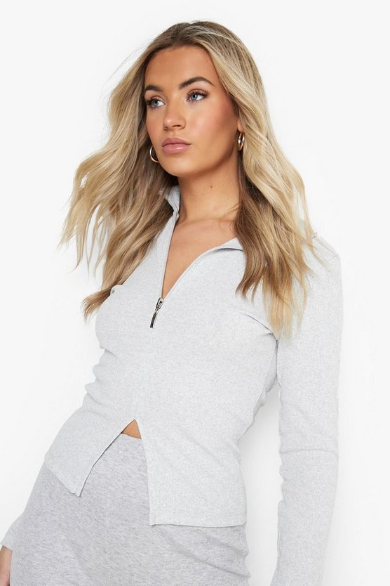 Turtle Neck Rib Half Zip Top