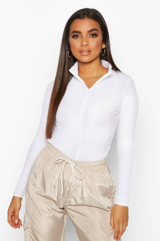 White Turtle Neck Rib Half Zip Top
