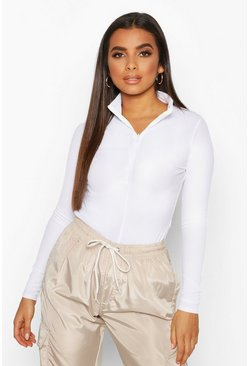 Top a coste con collo alto e mezza zip, White, Femmina