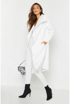 Womens Cream Belted Shawl Collar Coat